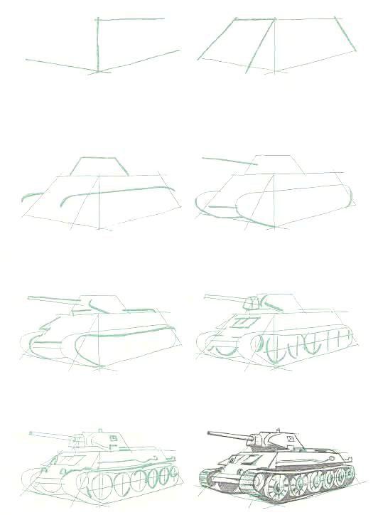 Фото - Як намалювати танк олівцем або фарбами?